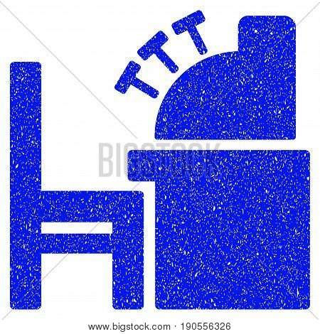 Grunge Accounting Office icon with grunge design and scratched texture. Unclean vector blue pictogram for rubber seal stamp imitations and watermarks. Draft sign symbol.