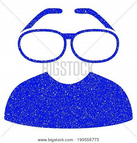 Grunge Clever Spectacles icon with grunge design and dust texture. Unclean vector blue pictogram for rubber seal stamp imitations and watermarks. Draft sign symbol.