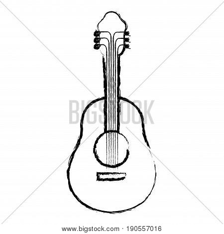 monochrome blurred silhouette of acoustic guitar vector illustration