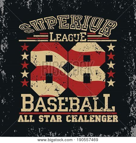 t-shirt Baseball graphic design. Sport wear tshirt stamp All Stars Championship typography emblemtee graphics vintage print athletic apparel design. vector