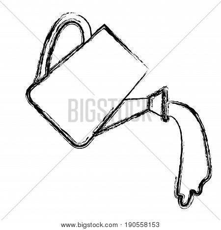 monochrome blurred silhouette of watering can spilling water vector illustration