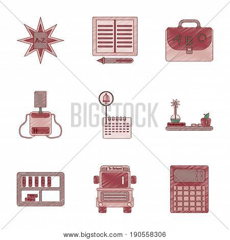 assembly flat shading style icon of education school supplies