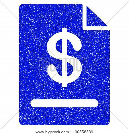 Grunge Invoice icon with grunge design and scratched texture. Unclean vector blue pictogram for rubber seal stamp imitations and watermarks. Draft sign symbol.