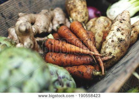 Variation of vegetables in a wooden bucket