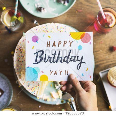 Birthday Cake with Wishing Card Celebration Party
