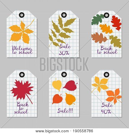 Set of tags with tree leaves. School background. Vector illustration.