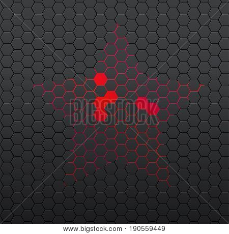 Black Background Of Hexagonal Mosaic. Red Star In The Center.