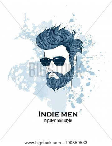 Indie Men. Hipster Hair Style. Fashion Illustration.