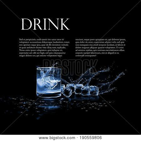 Illustration with a glass of whiskey ice cubes splashes and drops of water.