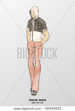 Sketch. Indie Man. Handsome Stylish Man Showcasing Street Fashio