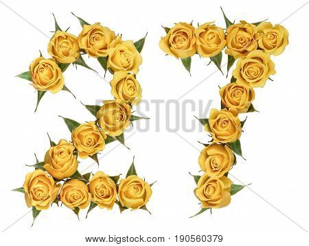 Arabic Numeral 27, Twenty Seven, From Yellow Flowers Of Rose, Isolated On White Background
