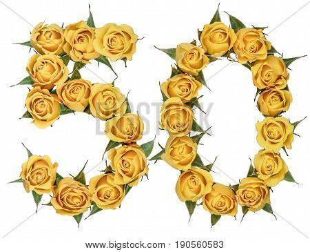 Arabic Numeral 50, Fifty, From Yellow Flowers Of Rose, Isolated On White Background