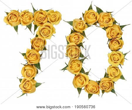 Arabic Numeral 70, Seventy, From Yellow Flowers Of Rose, Isolated On White Background