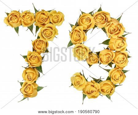 Arabic Numeral 79, Seventy Nine, From Yellow Flowers Of Rose, Isolated On White Background