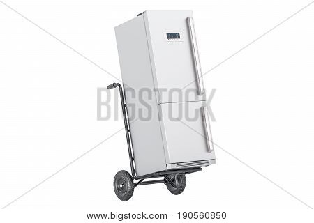 Hand truck with fridge. Appliance delivery. 3D rendering
