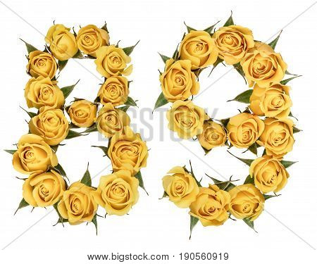 Arabic Numeral 89, Eighty Nine, From Yellow Flowers Of Rose, Isolated On White Background