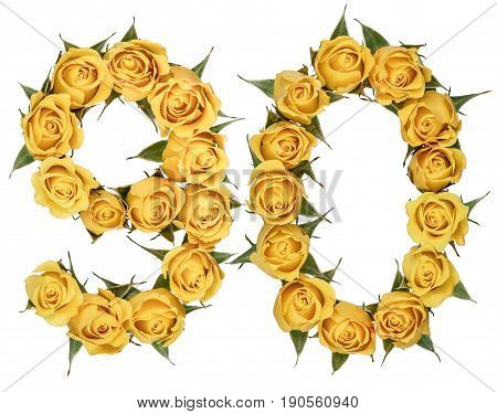 Arabic Numeral 90, Ninety, From Yellow Flowers Of Rose, Isolated On White Background
