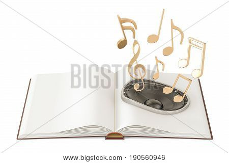 Opened book with loudspeaker and music notes audiobook concept. 3D rendering