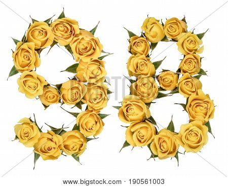 Arabic Numeral 98, Ninety Eight, From Yellow Flowers Of Rose, Isolated On White Background