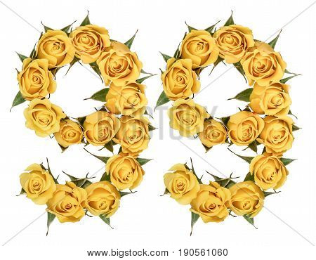 Arabic Numeral 99, Ninety Nine, From Yellow Flowers Of Rose, Isolated On White Background