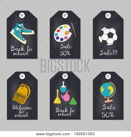 Set of tags with school supplies. Vector illustration.