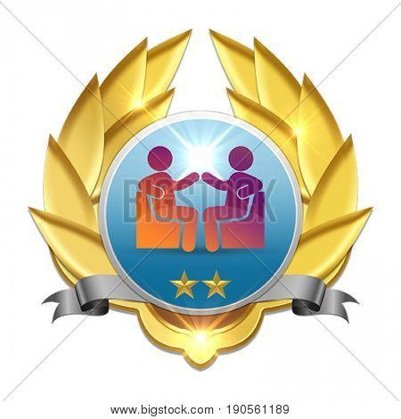 golden badge symbolizing two persons communicating wich each other