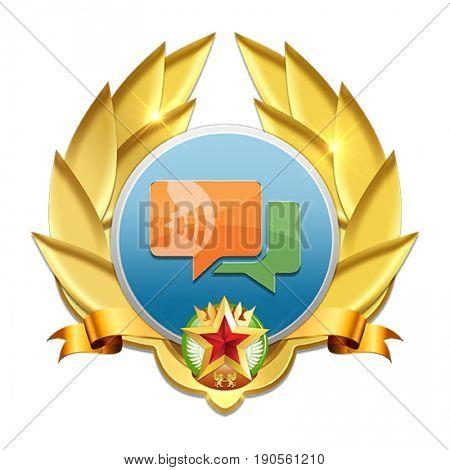 orange and green text balloons badge symbolizing good communication skills