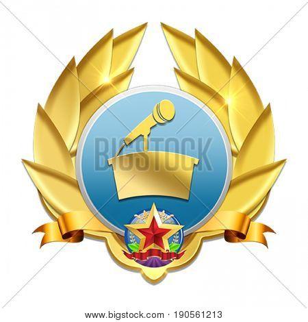 golden microphone badge symbolizing good communication skills