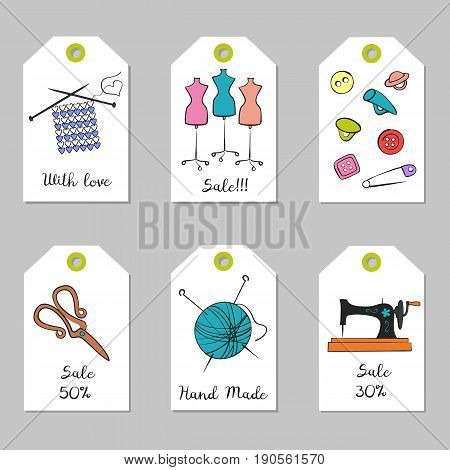 Set of tags with handmade icons. Vector illustration.