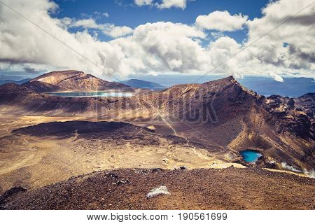 Landscape View Of Emerald Lakes And Volcanic Landscape, Tongariro, Nz