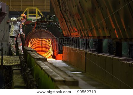 Rolled wire production at the metallurgical plant - working process