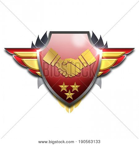 red and yellow shaking hands badge with wings symbolizing friendship or agreement
