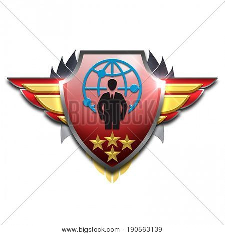 badge with businessman in front of a world globe symbolizing management skills