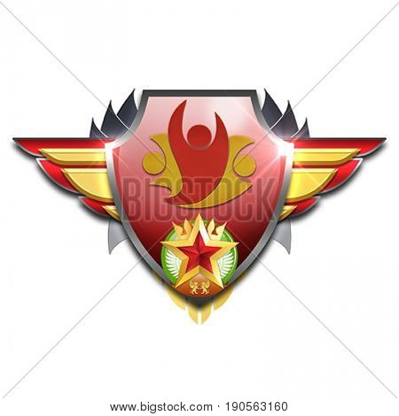 red and yellow badge with wings symbolizing management skills
