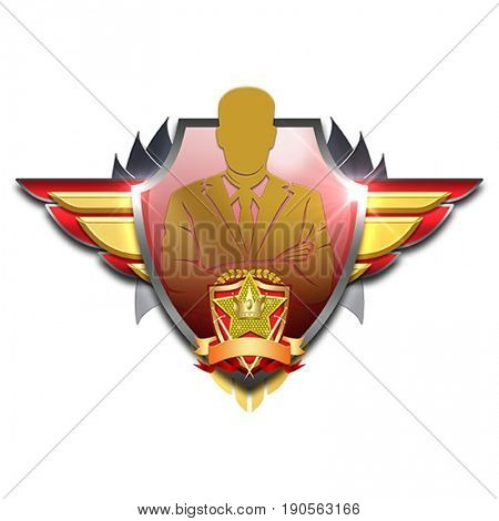 red and yellow badge with wings symbolizing golden manager meaning having excellent leadership qualities