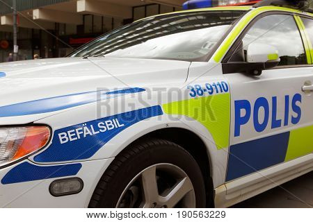 Sodertalje Sweden - June 8 2013: Close up of a Swedish police car used by commanding officer (befalsbil).