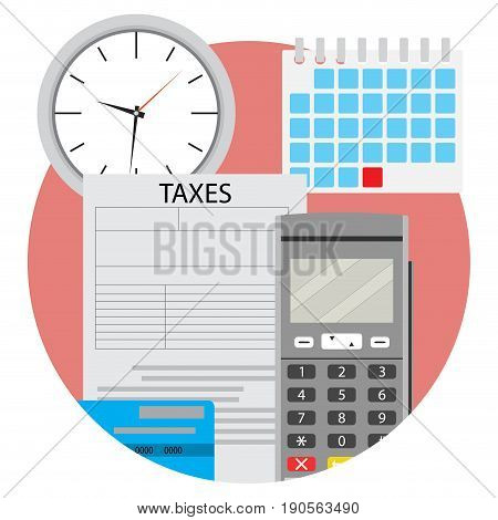 Day of payment taxes icon app flat. Taxation and tax day payday deadline vector illustration