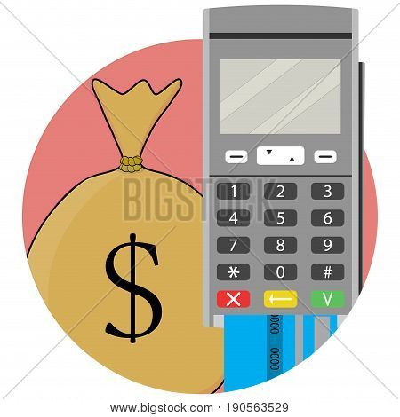 Payment and transfer of money by credit card and terminal. Send money and remittance bank transfer and money transaction vector illustration