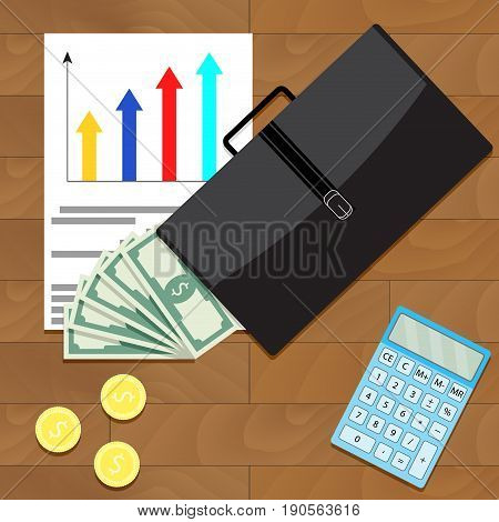 Economic and financial growth of business top view concept. Vector economic development and growth illustration economic recovery and business growth