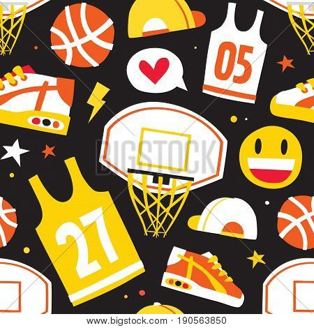 Basketball hand drawn cartoon kawaii objects seamless vector pattern black