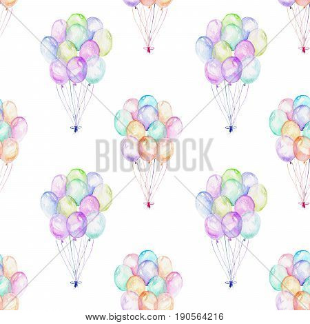 Seamless pattern with watercolor bundle of balloons, hand drawn isolated on a white background