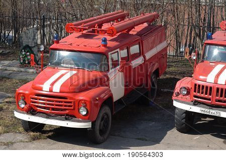 Murmansk, Russia - May 30, 2010: Fire trucks stand on the street