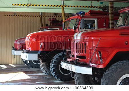 Murmansk, Russia - May 30, 2010: Fire trucks are in a specialized garage