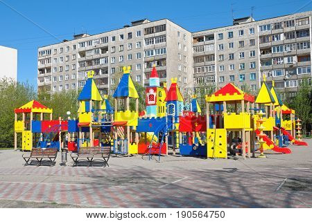 Murmansk, Russia - May 30, 2010: New children's play complex in city architecture
