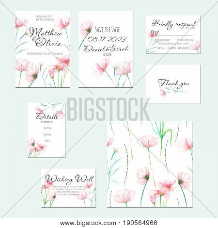 Template cards set with watercolor tender pink Cosmos flower; wedding design for invitation, Save the date card, RSVP, Thank you card, Wishing Well card,  for anniversary day