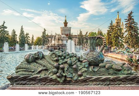 sculpture adorning a stone flower fountain at the Exhibition of Achievements of the National Economy in Moscow. Russia Moscow. September 21, 2015