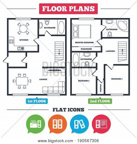Architecture plan with furniture. House floor plan. Accounting icons. Document storage in folders sign symbols. Kitchen, lounge and bathroom. Vector
