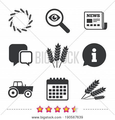 Agricultural icons. Wheat corn or Gluten free signs symbols. Tractor machinery. Newspaper, information and calendar icons. Investigate magnifier, chat symbol. Vector
