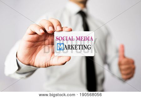 Businessman Showing His Social Media Marketing Vcard