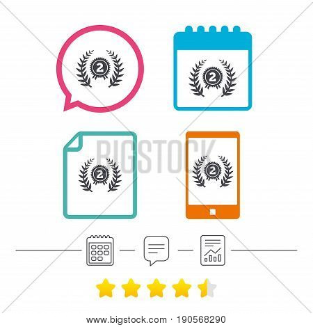 Second place award sign icon. Prize for winner symbol. Laurel Wreath. Calendar, chat speech bubble and report linear icons. Star vote ranking. Vector